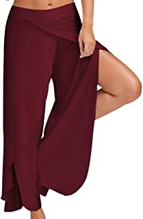 Oubaybay Women's Wide Leg Yoga Pants Stretch High Slit Hippie Harem Trousers