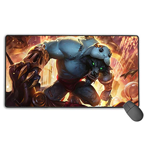 Extended Gaming Mouse Pad Large for League Legends urf The Manatee Warwick, Computer Keyboard Mouse Mat Waterproof Non-Slip Rubber for PC Computer Laptop 11.8x31.5 in(30cm X 80cm)