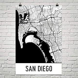 Modern Map Art Cartel de San Diego, San Diego impresión de arte, arte de la pared de San Diego, San Diego mapa 24