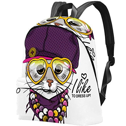 Mochila de Viaje con Sombrero de Gato con Sombrero Violeta, para la Universidad y la Escuela, Bolsa Informal para Mujeres y Hombres