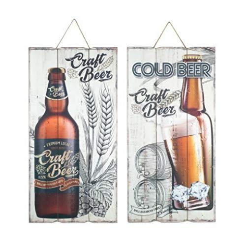 CAPRILO. Set de 2 Adornos Placa Pared Decorativas de Madera Cerveza. Cuadros y Apliques. Regalos Originales. Decoración Hogar. Muebles Auxiliares. 60 x 30 x 1.8 cm.
