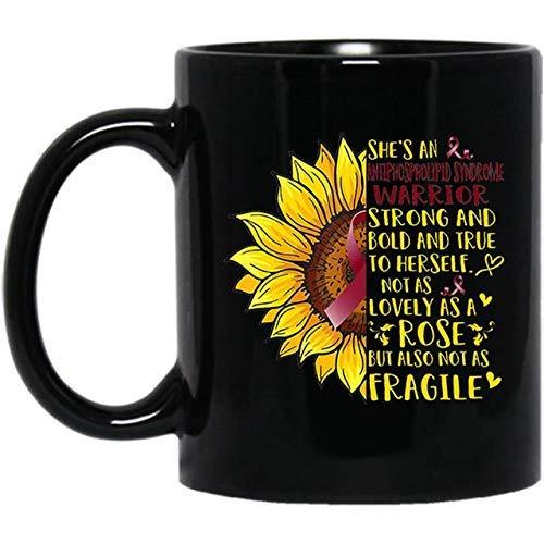 NA Taza de café de motivación de Girasol Guerrero del síndrome antifosfolípido, Regalo Negro de 11 oz para la recuperación, felicitaciones, cumpleaños, Navidad