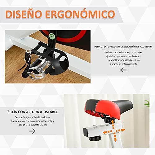 516Fg+XPBgS. SL500  - HOMCOM Bicicleta Estática Bicicleta de Fitness Pantalla LCD Asiento Manillar Ajustable Volante de Inercia 8kg Resistencia Regulable 103x53x110-114 cm Acero Blanco