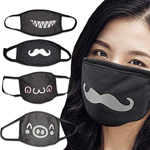 MASKGUARD Kpop Reusable Kawaii Anime Face Mask - Washable Mouth Cover for Anti Dust, Great for Outdoors, Sun Protection, Riding, Cosplay, Airplanes, Travel (4pcs Anime Pack Black)