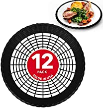 """Stock Your Home 9"""" Paper Plate Holder in Black (12 Count) - Paper Plate Holders Plastic Heavy Duty - Plastic Paper Plate Holder - Woven Paper Plate Holder - Paper Plate Holders Reusable"""