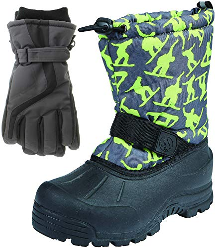 Northside Frosty Winter Boys Snow Boots with Matching Waterproof Gloves, Size: 13 M US Little Kid - Dark Gray/Green (Green)