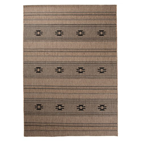 Carpeto Sisal Teppich Dunkelbeige 140 x 200 cm Sisal Optik Muster Flachgewebe Sisal Kollektion