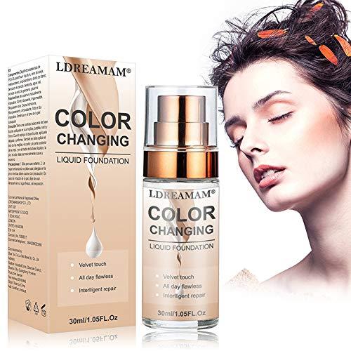 Base de Maquillaje,Foundation Color Changing,Base Líquida,Resistente al Agua,Duradero,24H Base de Maquillaje de...