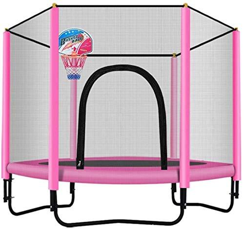 Mopoq Kinder Mini-Trampolin, Trampolin mit einem Sicherheitsschild, verzinkter Stahl - Ideal for Kinder Geburtstags-Geschenke, Innen- und Außen Garten-Trampolin mit Basketballkorb (Color : Rosa)