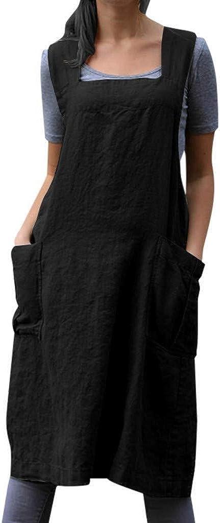 Mujeres Señoras Vestido Túnica De Algodón Delantal Con Bolsillos Delantal Vestido de estilo japonés