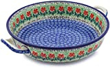 Polish Pottery 11-inch Round Baker with Handles made by Ceramika Artystyczna (Maraschino Theme) + Certificate of Authenticity