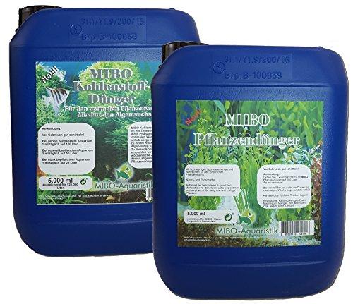 MIBO-Aquaristik Pflanzendünger + Kohlenstoffdünger Spar Set 2 x 5000ml Aquarium Dünger