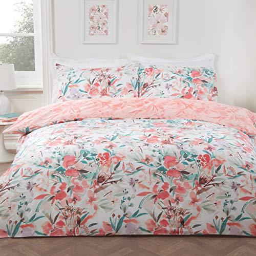 Sleepdown Watercolour Floral Coral Blue Peach Reversible Soft Easy Care Duvet Cover Quilt Bedding Set with Pillowcases - King (230cm x 220cm)