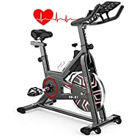 Rinkmo Indoor Cycling Stationary Bike with Pad Mount, 36 LBS Flywheel Workout Bike with Adjustable Resistance, Heart Rate Monitor, Support 330LBS