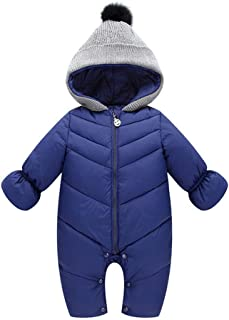 Unisex Baby Hooded Puffer Jacket Jumpsuit Winter Snowsuit Coat Romper