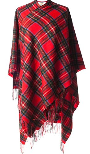 I Luv Ltd Cashmere Cape In Stewart Royal Tartan Design 150cm Wide