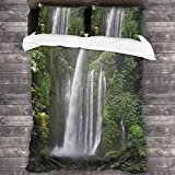 3 Piezas Juego Funda De Diseño Personalizado,Exótica selva tropical con cascada en Indonesia Imagen de aventura de árboles,Ropa de Cama Set 1 Edredón 2 Fundas de Almohada Microfibra jueg(200*200cm)