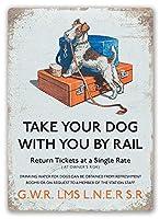 素晴らしいブリキのサインアルミニウム、犬は鉄道で旅行、警告サイン私有財産のための金属屋外の危険サインブリキの肉サインアートヴィンテージプラークキッチンホームバー壁の装飾