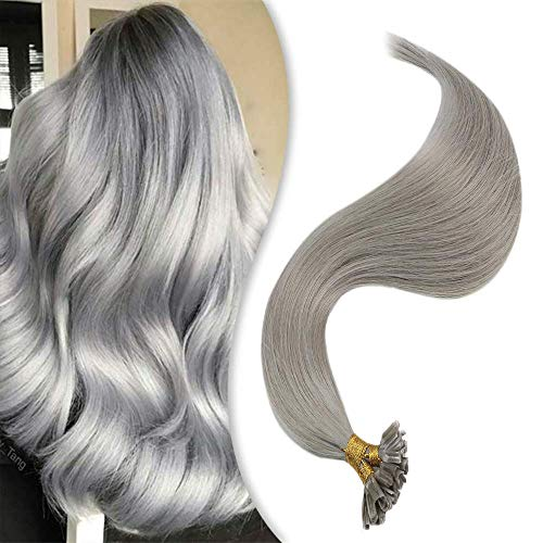 YoungSee Remy Extension Cheratina Capelli Umani 50 Ciocche - U Tip Hair Extensions Hot Fusion 1g/s Grigio Remy Keratina Extension Capelli Veri 50G 35 cm