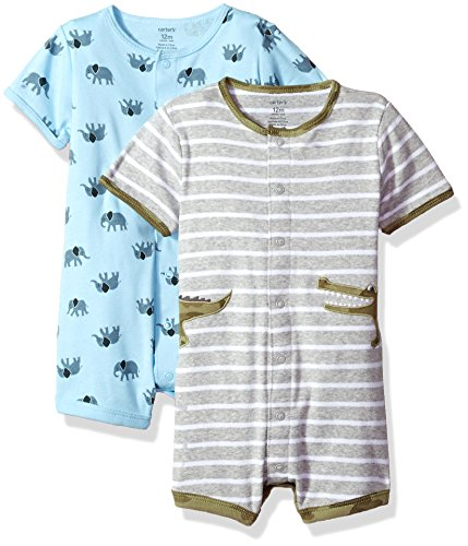 Carter's Baby Boys' 2-Pack Snap-up Romper, Crocodile/Elephant, 6 Months