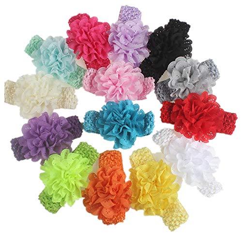 Junecake 14PCS Baby Stirnbänder,Chiffon- Blumen-Haarband-bunte Haarband-Haar-Zusätze für Neugeborene Säuglings-Kleinkinder