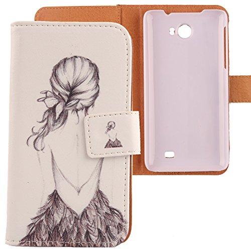Lankashi PU Flip Leder Tasche Hülle Hülle Cover Schutz Handy Etui Skin Für Kazam Trooper 2 5.0 Back Girl Design