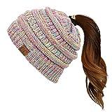 C.C Exclusives Messy Bun Ponytail Beanie Winter Hat for Women (Pastel Multi)