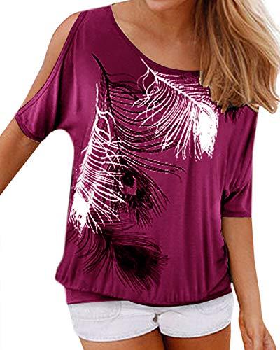 YOINS Camicetta Donna Estate Camicia Elegante Manica Corta Spalle Scoperte Bluse Estiva Floreale Top Maglietta con Motivo Viola XXL