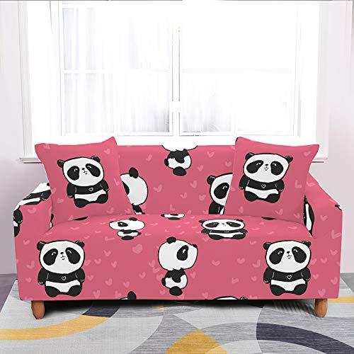 Fundas elásticas universales para sofá elásticas, diseño de panda, color rojo rosa y elástico para sofá de poliéster y licra, para cama individual a cuatro plazas, 1, asiento 90 140 cm