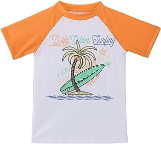 TIZAX Camiseta natación con protección Solar para niños Traje de baño de Manga Corta UPF50+ Rashguard para Surf/Nadando/Bu...