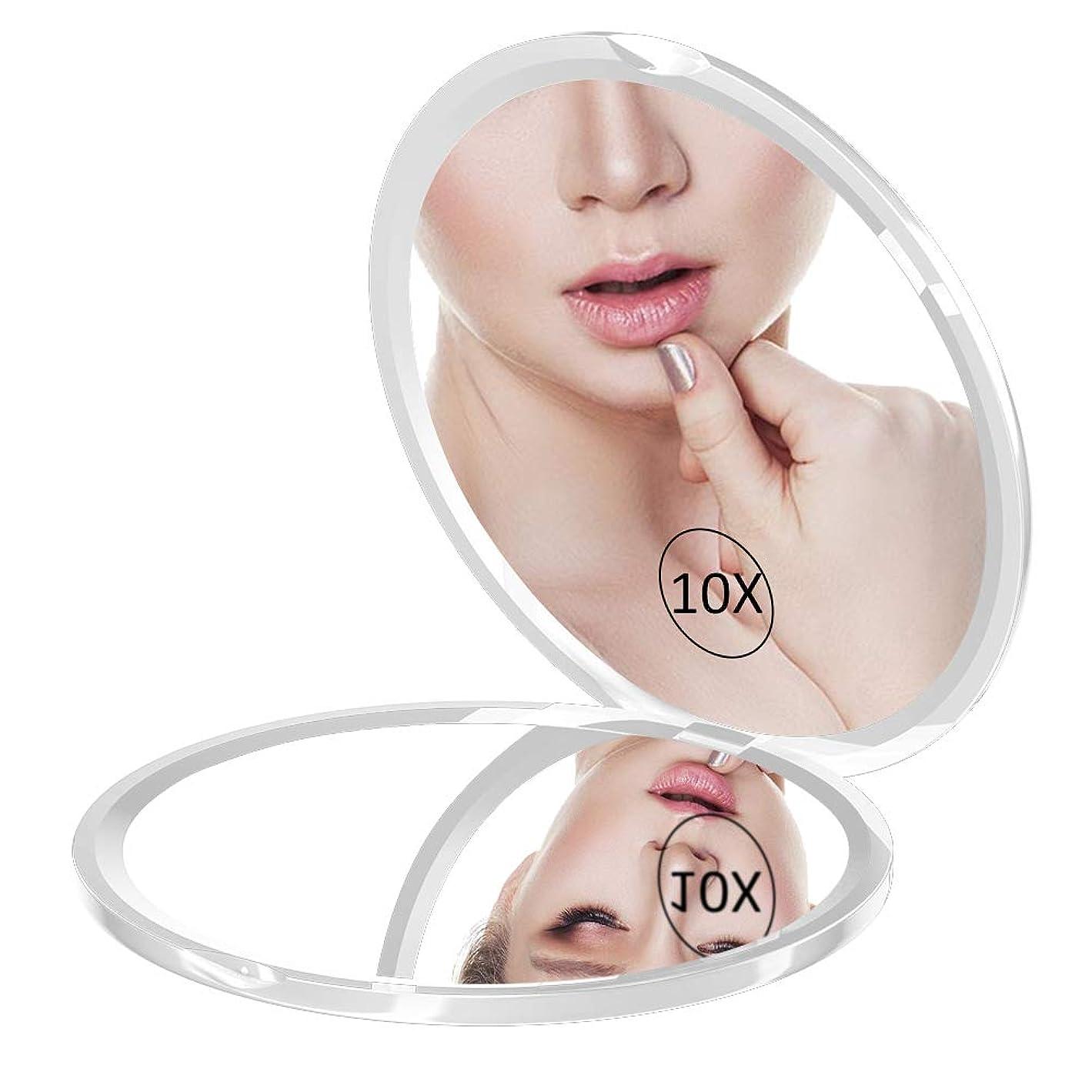 コンパクトミラー WEILY 化粧鏡 10倍拡大鏡 折りたたみ鏡 手鏡 両面鏡(ホワイト)