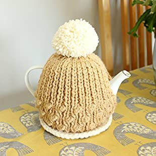 READY TO SHIP - Handmade Tea Cosy and Tea Pot Stand - Caramel and Cream:Interoot
