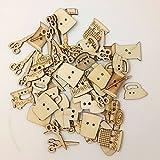 shyymaoyi - Botones de Madera con Forma de Herramienta de Costura, 2 Agujeros, para Manualidades, Costura, álbumes de Recortes, Manualidades, decoración, 50 Unidades, Madera