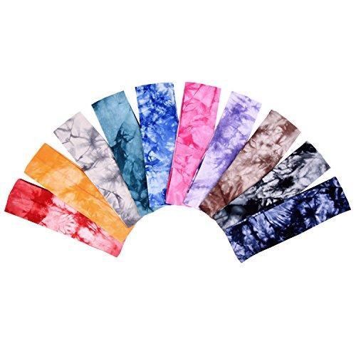 Tie Dye Baumwolle Stretch Kopfband Elastische Yoga Haarband, 10 Stück
