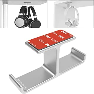 APPHOME Headset Holder with Aluminum 3M Adhesive Under Desk Headphone Stand for All Headphones, Silver(Patented)