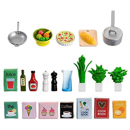 Lundby 60-508900 - Küchenzubehör Puppenhaus - 26-teilig - Puppenhauszubehör - Kochutensilien, Verpackungen, Kochbuch, Geschirr, Pfannen, Töpfe - Zubehör - ab 4 Jahre - 11 cm Puppen - Minipuppen 1:18