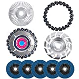 UHAPEER Angle Grinder Disc Accessories & Attachment 9-Piece Set, Include Chain Disc, Chain Replacement, Wood Shaping Disc, Quick Carving Disc, Sanding Grinding Wheels for Woodworking