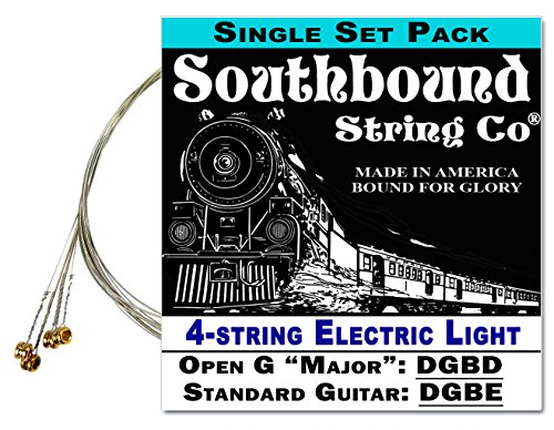 Electric 'Light' 4-String Cigar Box Guitar Strings - Open G/Open D/Standard Tunings