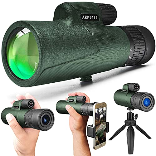 ARPBEST 25X50 High Definition Monocular Telescope with Smartphone Holder & Tripod - FMC Lens & BAK4 Prism - Starscope Monocular Telescope HD with Zoom Focus for Wildlife Bird Watching Hiking Camping