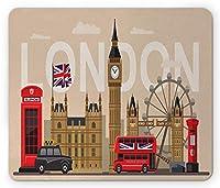 ロンドンの長方形のマウスパッド、有名なイギリスのランドマークモニュメントアートパターン観光旅行の目的地、滑り止めのゴム製バッキングマウスパッド、多色