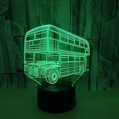 Nur 1 Stück Dual-Deck Bus 3D Acryl Nacht Schreibtischlampe Touch Switch Sieben Farben 3D Visual Table Lampe