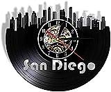 Reloj de Pared de Vinilo San Diego Cityscape Port City of California USA Reloj de Pared con Disco de Vinilo Reloj de Pared Moderno Skyline Hecho a Mano Vintage Decorativo 30 cm