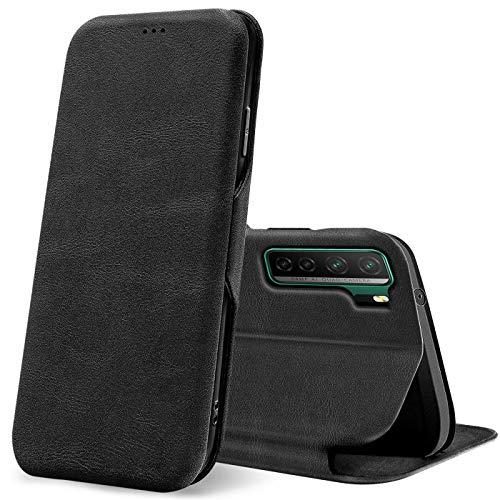 Verco Handyhülle für Huawei P40 Lite 5G, Bookstyle Premium Handy Flip Cover für P40 Lite 5G Hülle [integr. Magnet] Book Hülle PU Leder Tasche, Schwarz
