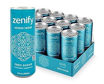 Zenify Zero Sugar All Natural Sparkling Calming Stress Relief Beverage Formula with L-Theanine GABA Vitamin B6 and Glycine Non-GMO Gluten-Free Vegan 12 Fl Ounce  Pack of 12