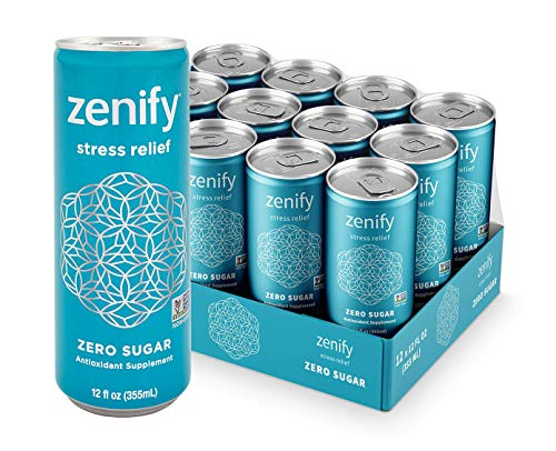 Zenify Zero Sugar All Natural Sparkling Calming Stress Relief Beverage Formula with LTheanine GABA Vitamin B6 and Glycine NonGMO GlutenFree Vegan 12 Fl Ounce Pack of 12