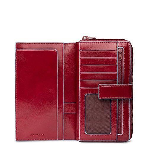 Piquadro Blue Square Portamonete con 12 Alloggiamenti per Carte di Credito, 18 cm, 0.75 litri, Rosso