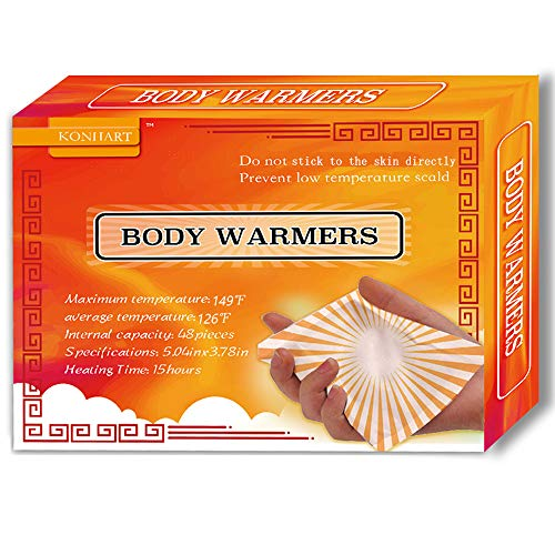 KONHART Body Hand Super Warmers with Adhesive Backing, Large Pads for Women Men Kids, Long Lasting Safe Natural Odorless Air Activated Warmers, 48 Packs