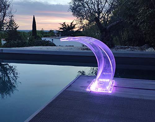Diseño moderno cascada - Fuente de piscina Cobra acrílica de plexiglás transparente LED