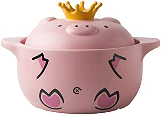 l.e.i. Cute Pig Ceramic Casserole with lid,Clay Pot stew Pot Soup hot Pot Household Gas Ear Stick stockpot Pink 4.23quart