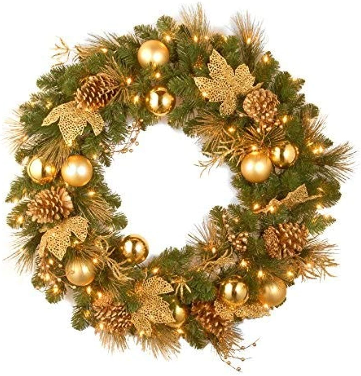 National Tree 24 Inch Decorative Collection Elegance Wreath with 50 Battery Operated Warm White LED Lights (DC13-109-24W B)